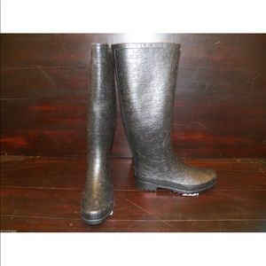 New Womens UGG Wilshire Logo Tall Black Rain Boots